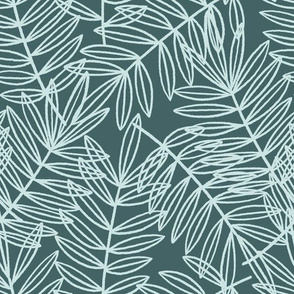 Palm Frond Botanical in Pine and Mint - Large