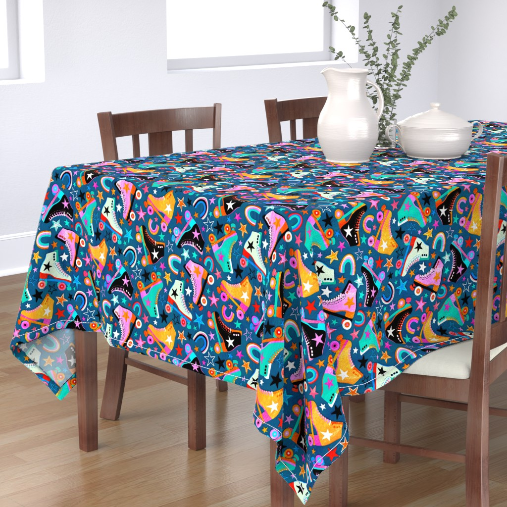 Bantam Rectangular Tablecloth featuring Retro Rainbow Roller Skates and Stars - large print by micklyn