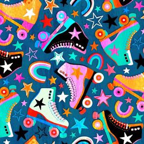 Retro Rainbow Roller Skates and Stars - large print