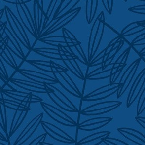 Tropical Palm Fronds in Navy and Classic Blue