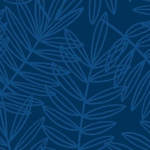 Tropical Palm Fronds in Classic Blue and Navy
