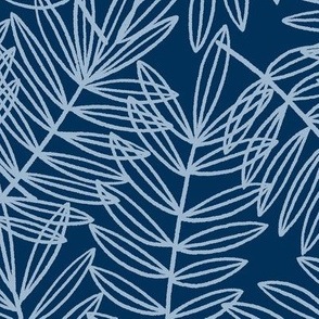 Tropical Palm Fronds in Pale Blue and Navy