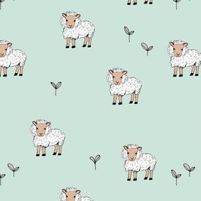 Little sheep in the fields grass farm animals sweet dreams nursery mint neutral