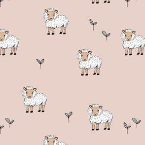 Little sheep in the fields grass farm animals sweet dreams nursery sand beige neutral