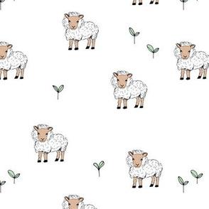 Little sheep in the fields grass farm animals sweet dreams nursery sand white neutral