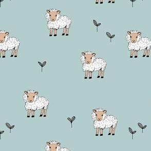 Little sheep in the fields grass farm animals sweet dreams nursery blue  gray