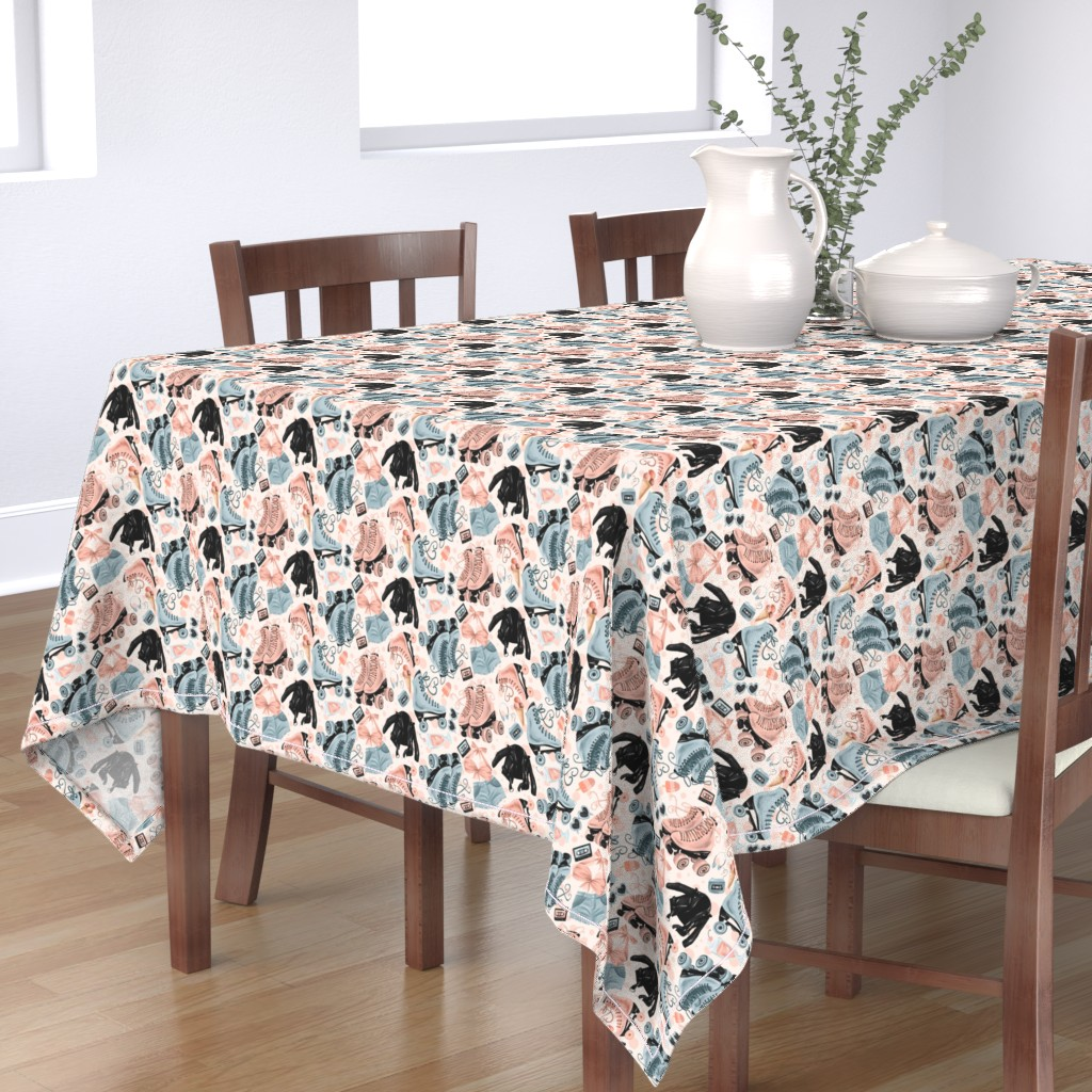Bantam Rectangular Tablecloth featuring How we Rolled in the 80's - Polka dotted by atelierdorina