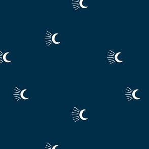 Moon light lunar magic universe minimalist abstract night nursery dreams navy blue white