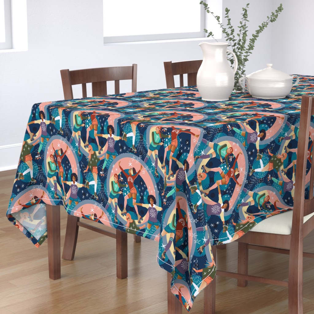 Bantam Rectangular Tablecloth featuring Let's roll! / Large scale by heidi-abeline