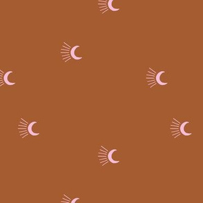 Moon light lunar magic universe minimalist abstract night nursery dreams rust copper pink girls