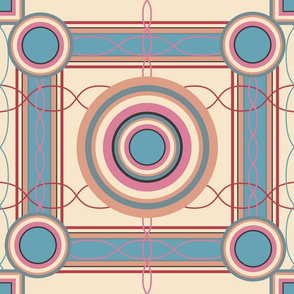 Peach and Teal Jumbo Box Pattern