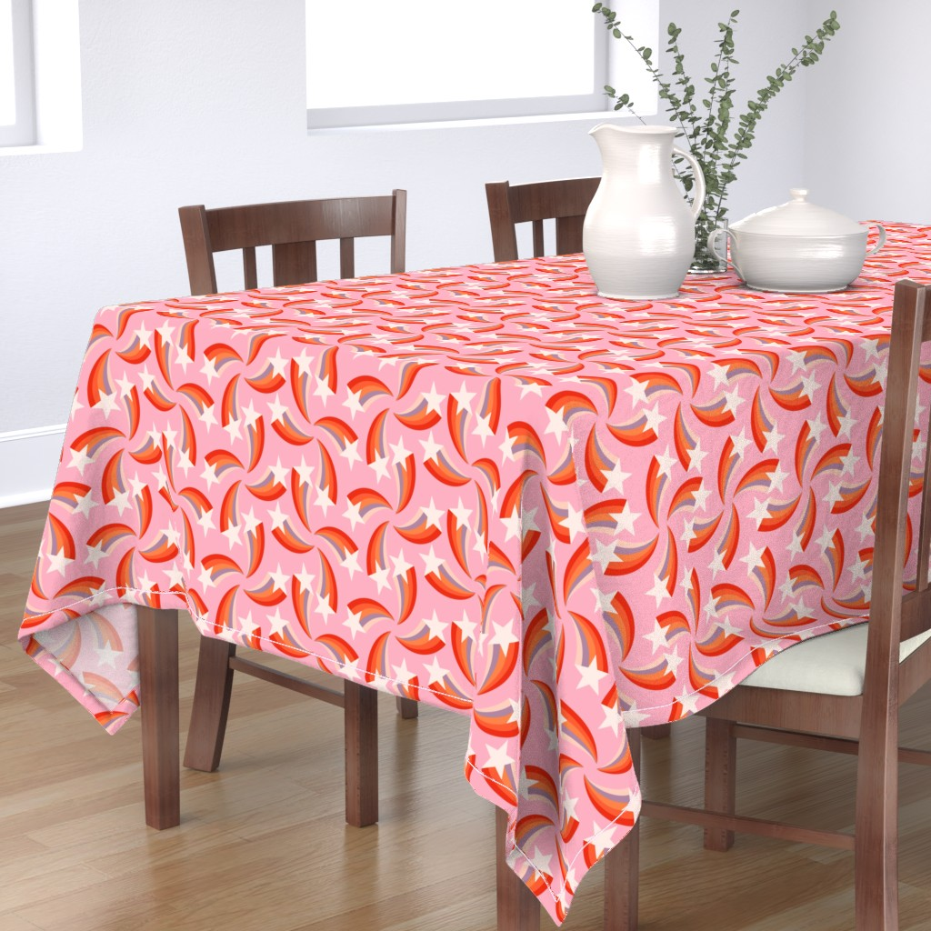 Bantam Rectangular Tablecloth featuring retro rainbow shooting stars pink L  by Pippa Shaw by pippa_shaw