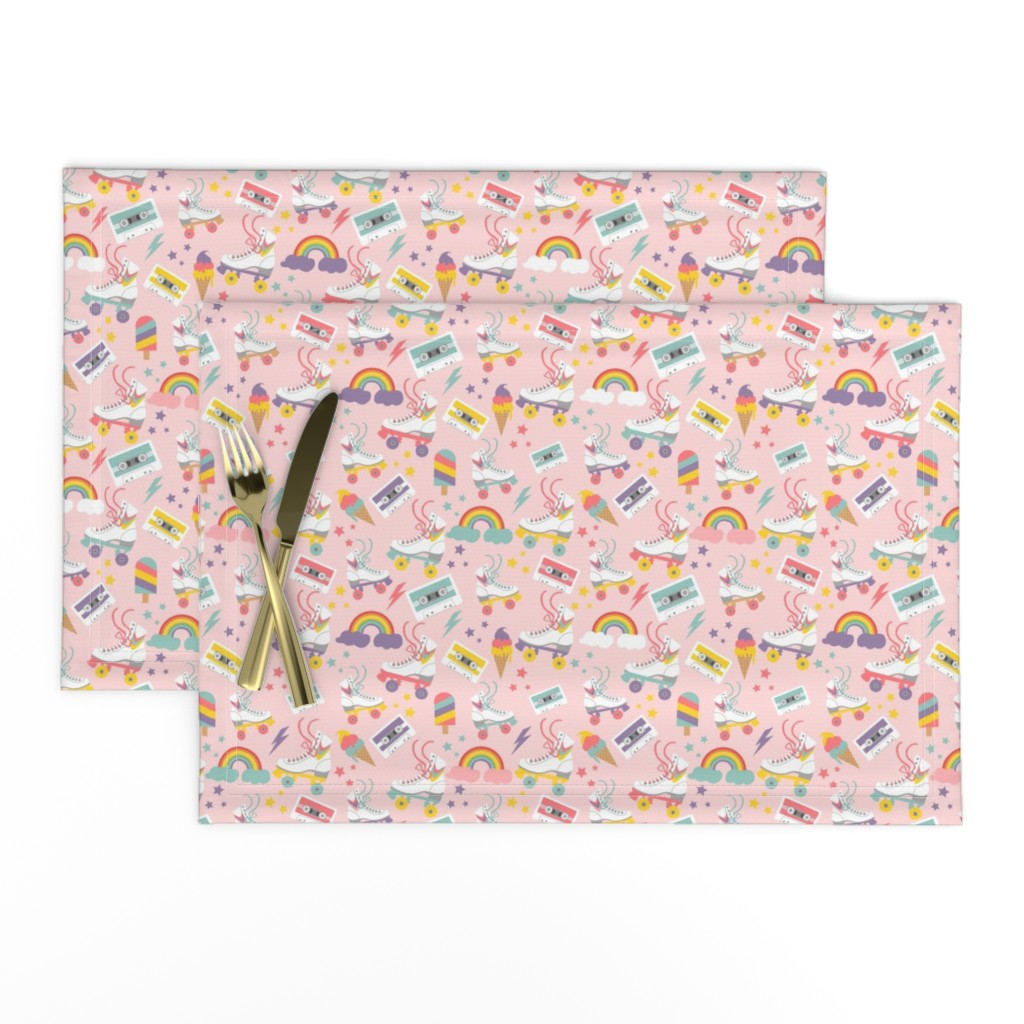Lamona Cloth Placemats featuring Rolling Skate Nostalgia by cafelab