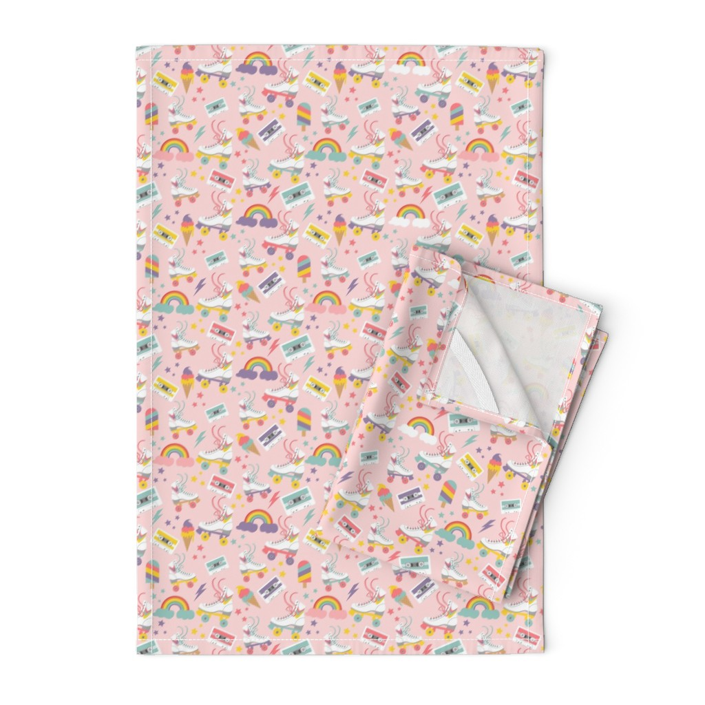 Orpington Tea Towels featuring Rolling Skate Nostalgia by cafelab