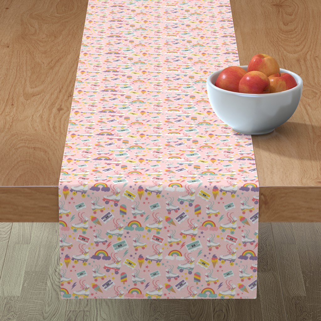 Minorca Table Runner featuring Rolling Skate Nostalgia by cafelab