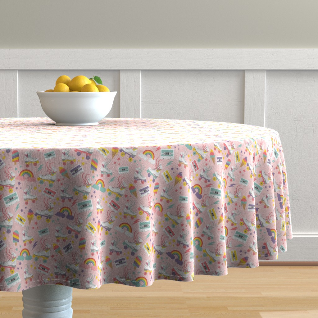 Malay Round Tablecloth featuring Rolling Skate Nostalgia by cafelab
