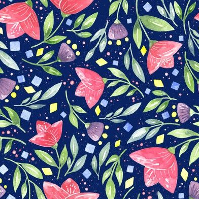 Modern Vibrant Watercolor Micro Floral Quilt