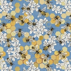 Save The Honey Bees - Bright Blue - Small