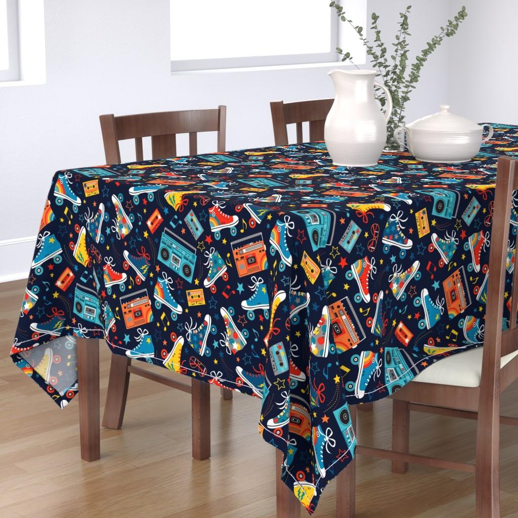 Bantam Rectangular Tablecloth featuring Retro Rainbow Rollers by emma_heeson_design