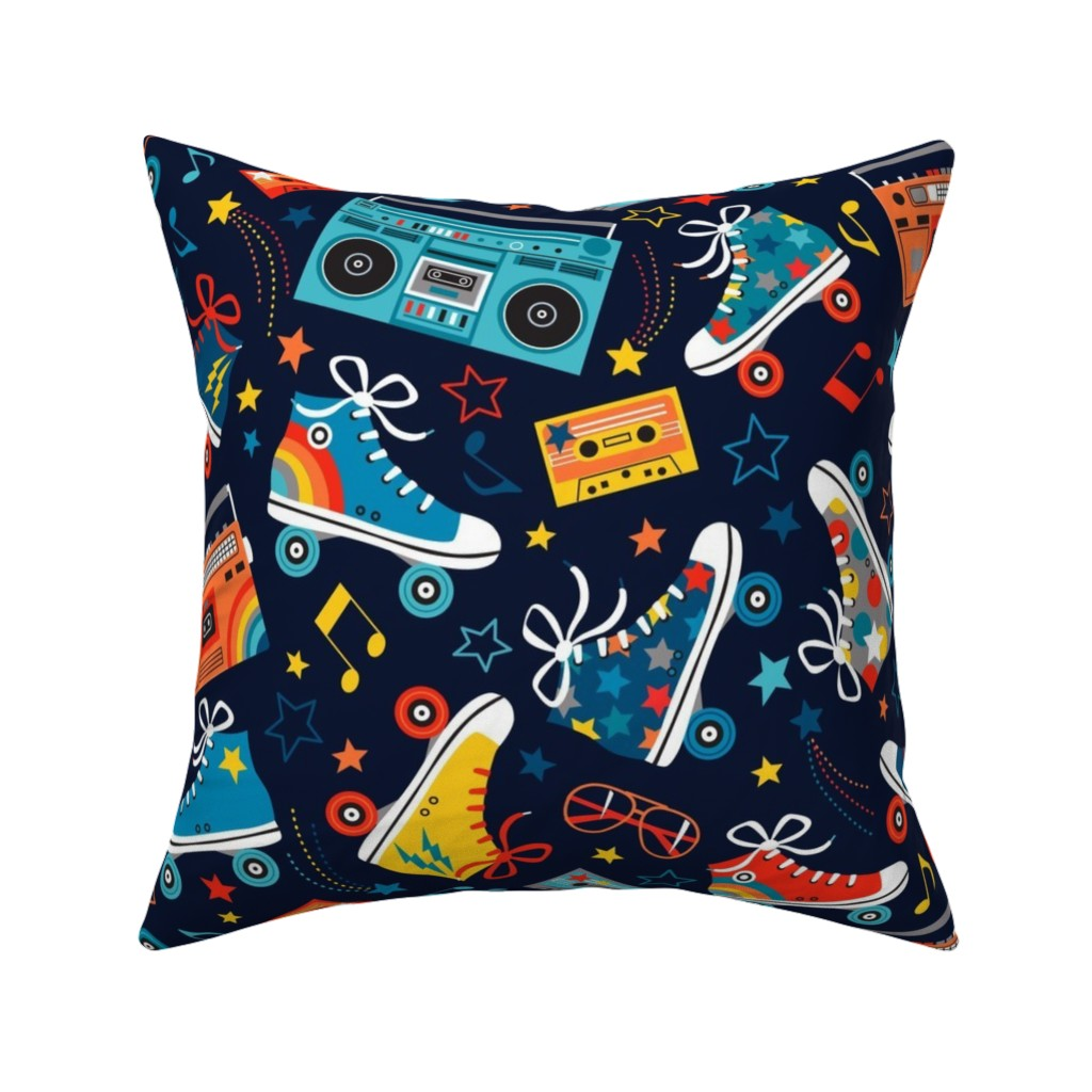 Catalan Throw Pillow featuring Retro Rainbow Rollers by emma_heeson_design
