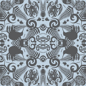 Kiwi Damask - Blue & Grey