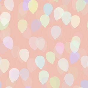 Floating Balloons - Rose Taupe Pastel