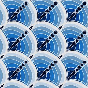 Silver Foil Art Deco Slanted Wave Cyan and Teal Tile