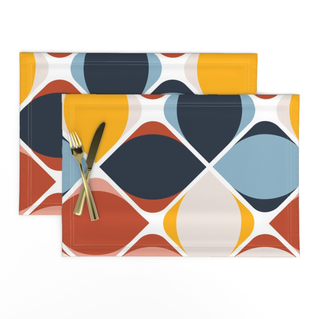 Lamona Cloth Placemats featuring warm geo eye flowers by flossiesgrand