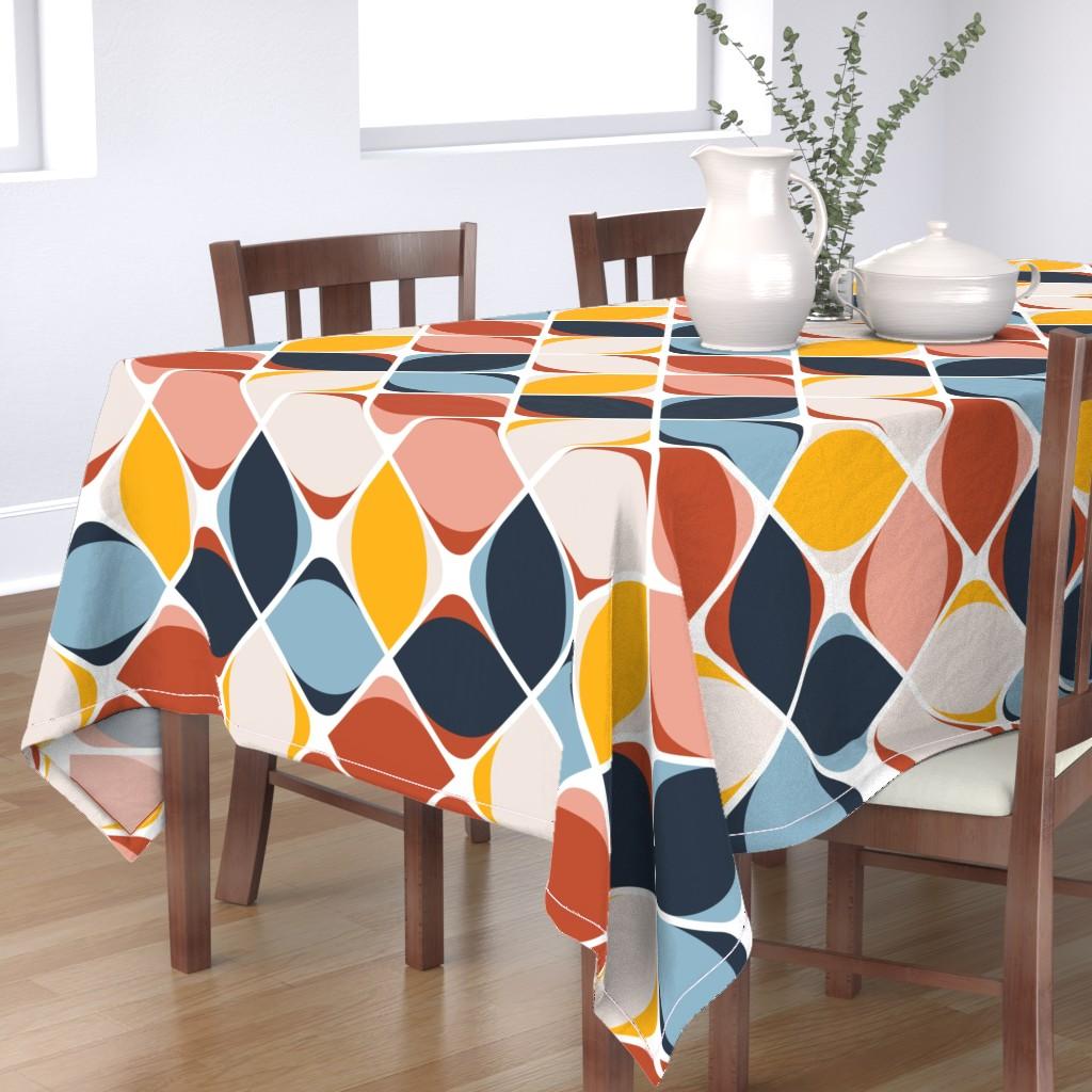 Bantam Rectangular Tablecloth featuring warm geo eye flowers by flossiesgrand