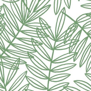 Tropical Palm Fronds in Green and White