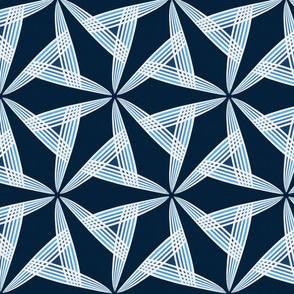 Silver Foil Abstract Windmill Energy in Deep Blue and Gray Tile
