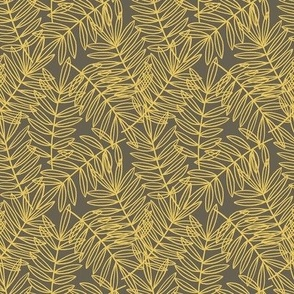 Tropical Palm Fronds in Grey and Yellow - Small