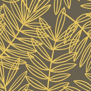Tropical Palm Fronds in Grey and Yellow