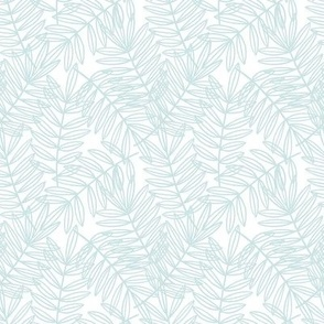 Tropical Palm Fronds in Blue and White - Small