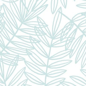 Tropical Palm Fronds in Blue and White