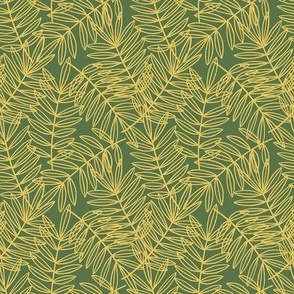 Tropical Palm Fronds in Yellow and Green - Small