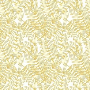 Tropical Palm Fronds in Yellow and White - Small