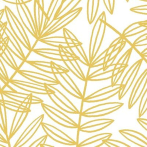 Tropical Palm Fronds in Yellow and White