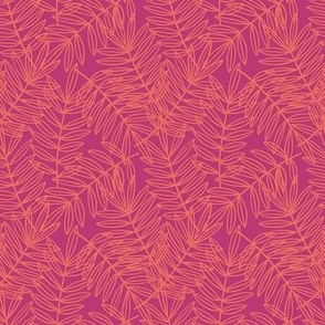 Tropical Palm Frond Botanical in Orange and Hot Pink - Small