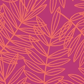 Tropical Palm Frond Botanical in Orange and Hot Pink