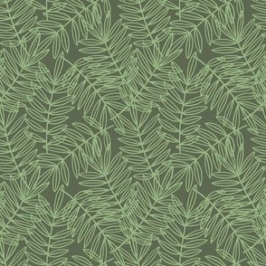 Tropical Palm Frond Botanical on Sage Green - Small