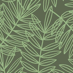 Tropical Palm Frond Botanical on Sage Green