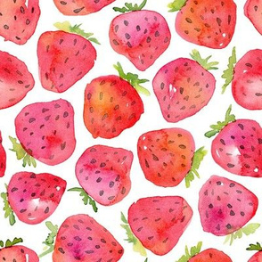 Watercolor strawberry bright red purple berries