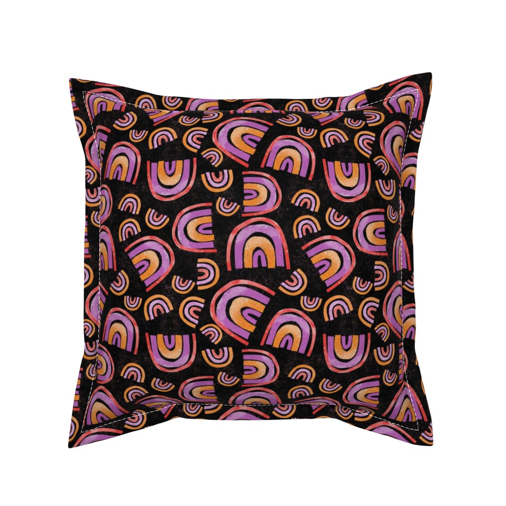 Serama Throw Pillow featuring My Kind of Rainbow - black background by michele_norris