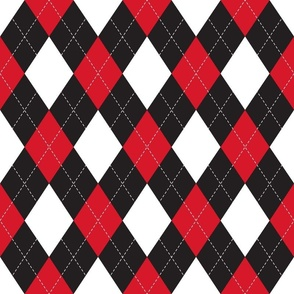 Black, white and Red Argyle