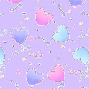Pastel Fairy Kei Hearts on purple