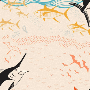 Pale repeating marlin pattern