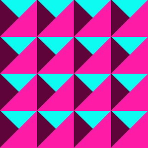 Neon Geometric Triangles Hot Pink
