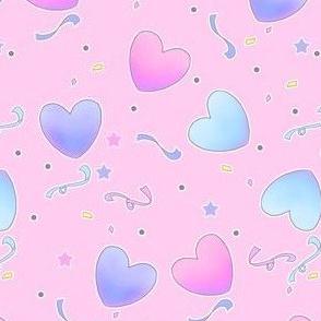 Pastel Fairy Kei Hearts on Pink