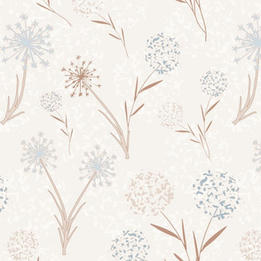 WIld Flowers in Blue and Wood Tone